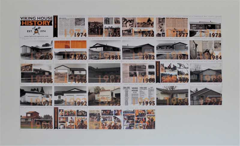 PMG PHOTO: WADE EVANSON - Photos of past Viking Houses are on display in the garage in the 2020-21 Viking house on 35th Avenue in Forest Grove.