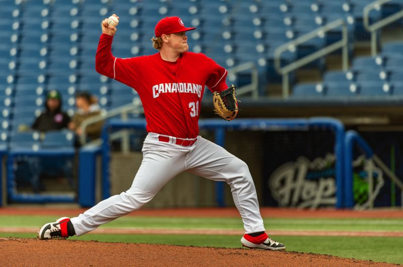 PMG PHOTO: DIEGO G. DIAZ - Paxton Schultz, starting pitcher for the Vancouver Canadians, delivers a pitch in a Sunday, June 6, game versus the Eugene Emeralds at Ron Tonkin Field.