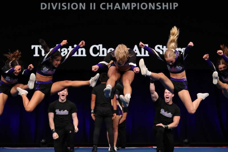 COURTESY PHOTO - Members of the Tualatin Cheer All-Stars perform a routine at the Summit cheer championships this past May in Orlando, Florida.