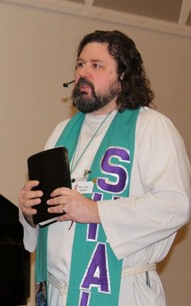 COURTESY PHOTO: HILLSBORO UNITED METHODIST CHURCH - The Rev. Clay Andrew speaks during a service at the Hillsboro United Methodist Church.