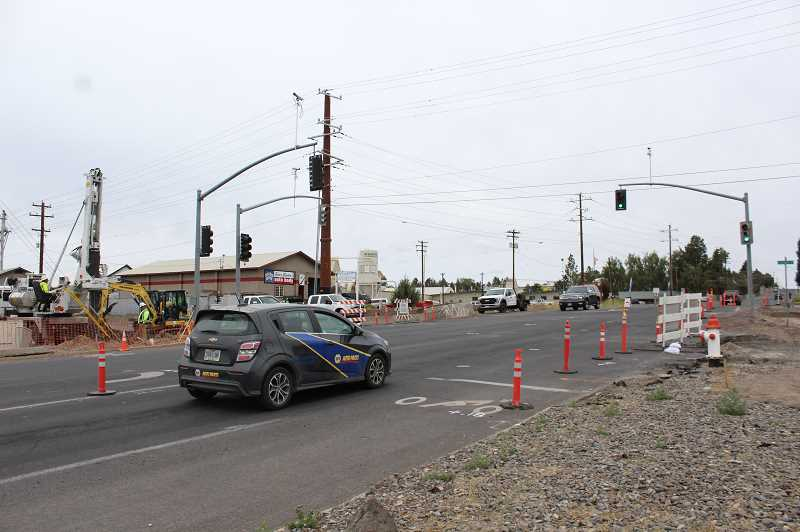 JASON CHANEY - Much of the construction work taking place so far is confined to the 10th Street legs of the intersection.