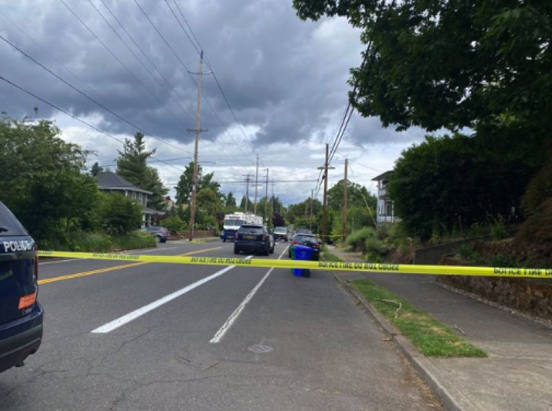 COURTESY KOIN 6 NEWS - The scene of the fatal shootings in Southeast Portland on Monday, June 7.