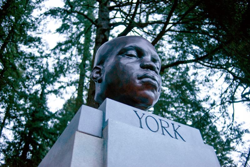 COURTESY PHOTO: MICK HANGLAND-SKILL/PORTLAND PARKS & RECREATION - A statue of York was installed by persons unknown at Mt. Tabor Park in Portland sometime before Feb. 20. York was the first Black explorer to reach Oregon, albeit as the slave of Lt. William Clark, who only granted him his freedom 10 years after the Lewis and Clark Expedition.