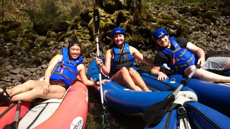 COURTESY PHOTO - Paddlers take a break from enjoying the Clackamas River. Photo taken prior to the COVID-19 pandemic.