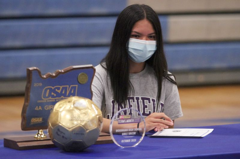 PMG PHOTO: PHIL HAWKINS - Woodburn senior Yahaira Rodriguez will continue her soccer career with the Linfield Wildcats after helping the Bulldogs win the girls soccer programs first state championship in 2019.
