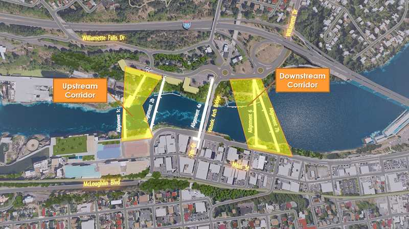COURTESY GRAPHIC: OREGON CITY COMMISSION  - The two corridors ODOT says would be a good place for a bike and pedestrian-only bridge from Oregon City to West Linn.  The process is slow and complex because of the history of the site and the number of stakeholders.