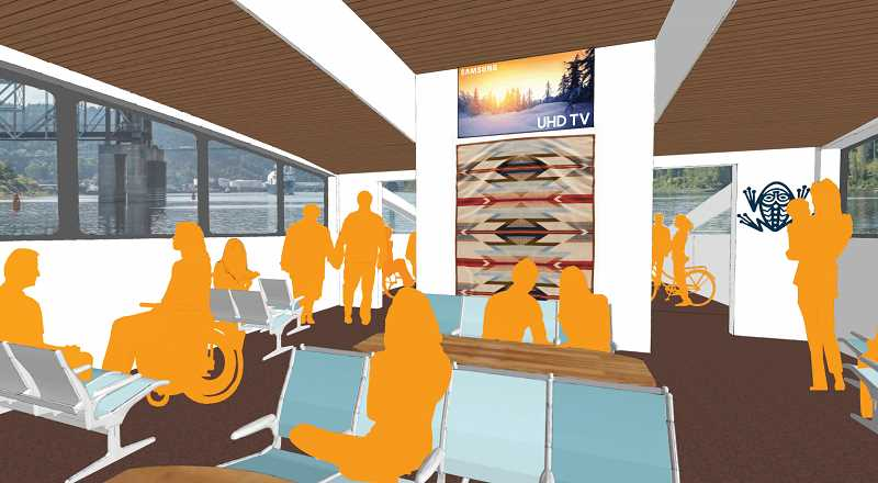 COURTESY GRAPHIC: FRIENDS OF FROG FERRY/CONVERGENCE ARCHITECTURE - How a modern Portland ferry might look, with carpets, AC and ultra hi-def TVs.