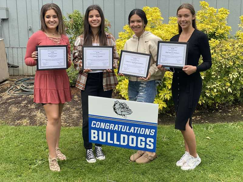 COURTESY PHOTO: WOODBURN PEO CHAPTER J - From left, Woodburn High School's Yesenia Lopez, Christa Manetti, Yahaira Rodriguez and Olga Slivkova received scholarships of between $1,000 and $2,500 from Woodburn PEO Chapter J. Gervais High School's Katie Hanson, not pictured, also received a $1,000 scholarship.