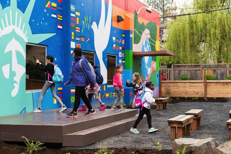 PMG FILE PHOTO - Kids play inside a green playspace created in 2019 at the Inukai Family Boys & Girls Club in Hillsboro.