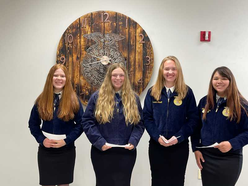 COURTESY PHOTO - The Molalla FFA chapter's veterinary science team members are from left to right: Emma King, Kamryn Linder, Jessica Hewitt and Kianna Fox. They placed 3rd in state.
