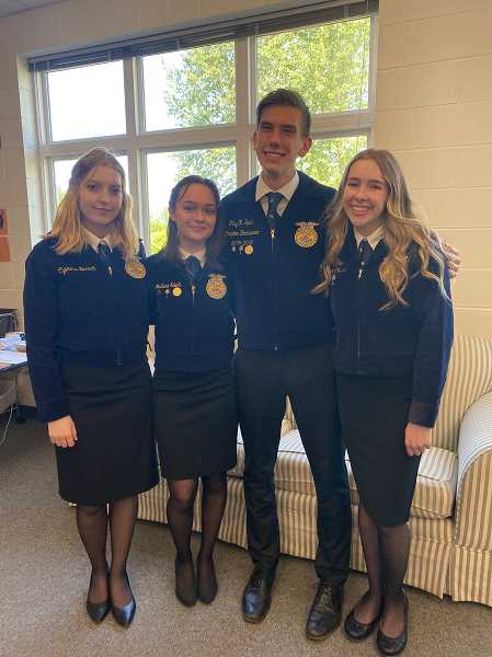 COURTESY PHOTO - The Molalla ag communications members are from left, Cypress Barrett, McKenna Salvetti, Clay Sperl and Chloe Corless.