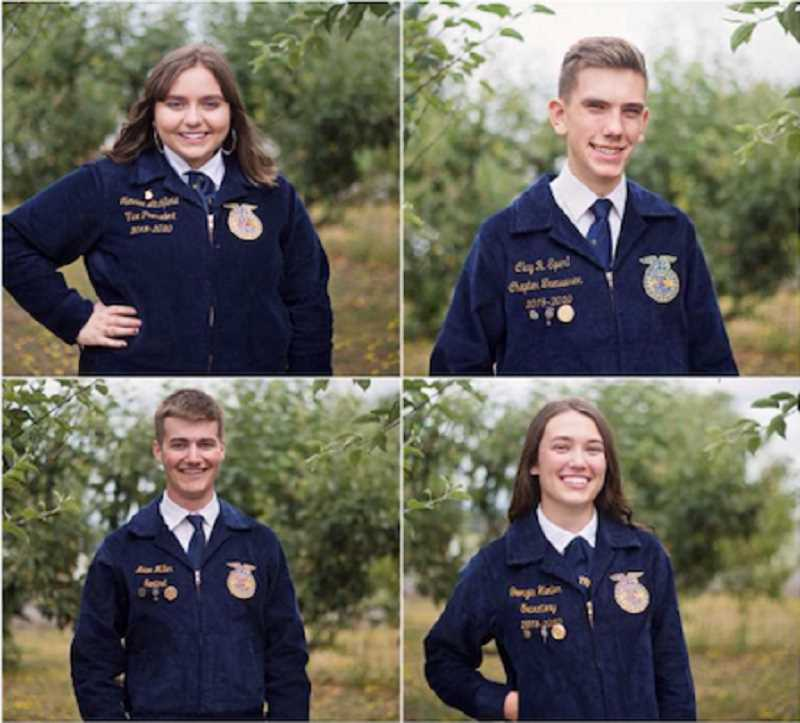 COURTESY PHOTO - Last year's Molalla ag communications team included from left (clockwise), Natalee Litchfield, Clay Sperl, Georgia Hunter and Adam Miller. The team took 1st in state with their media plan based on the misconceptions of the hemp industry.