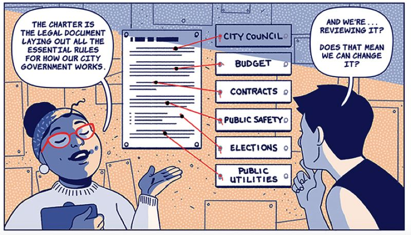 COURTESY IMAGE: OREGON HUMANITIES. - A panel from 'Charter Review' by writer Beka Feathers and artist Aki Ruiz.