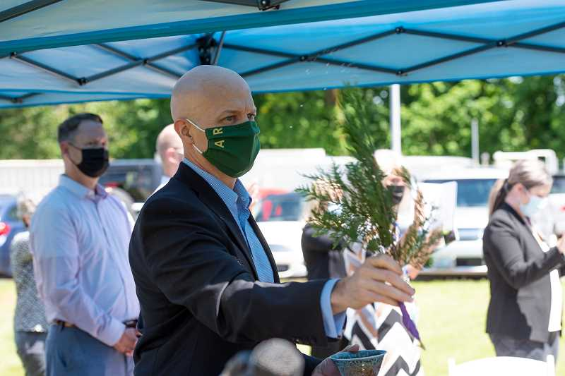 COURTESY PHOTO - Brad Henry, chief executive at Providence Willamette Falls Medical Center, participates in the blessing during the May 26 groundbreaking ceremony.