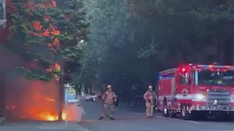 COURTESY KOIN 6 NEWS - The scene of the Wednesday tent fire in downtown Portland.