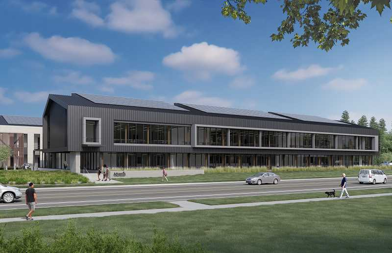 COURTESY RENDERING: TVA ARCHITECTS - Located at 14405 Meyers Road in Oregon City, Advantis Credit Union will be based along the city's newly constructed Meyers Road extension.