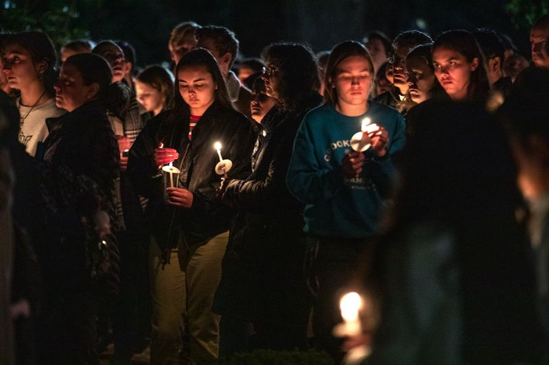 PMG PHOTO: JONATHAN HOUSE - The University of Portland community held a candlelight vigil on campus for a missing student in 2019.