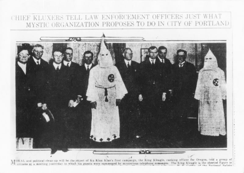 WIKIPEDIA PHOTO - Members of the Oregon Klu Klu Klan met with Portlands mayor and other top law enforcement officials in 1921 for a meeting covered in local newspapers.