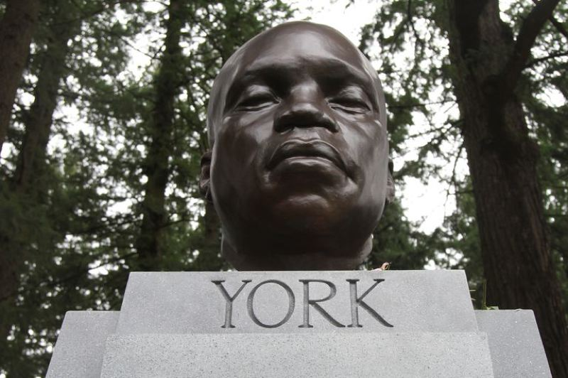 KRISTEN FODEN-VENCIL/OPB - The bust of York, the only Black member of the Lewis and Clark Corps of Discovery, appeared mysteriously at Mt. Tabor Park.