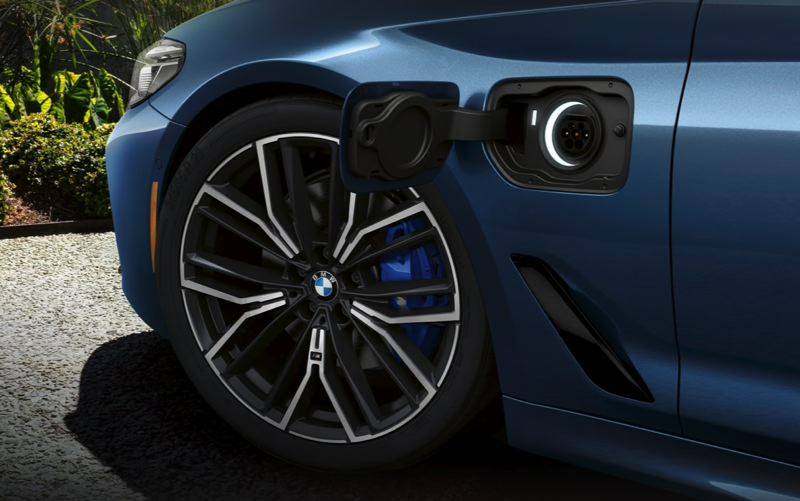 COURTESY BMW USA - The 2021 BMW 530e is easy to recharge at the front plug-in connector.