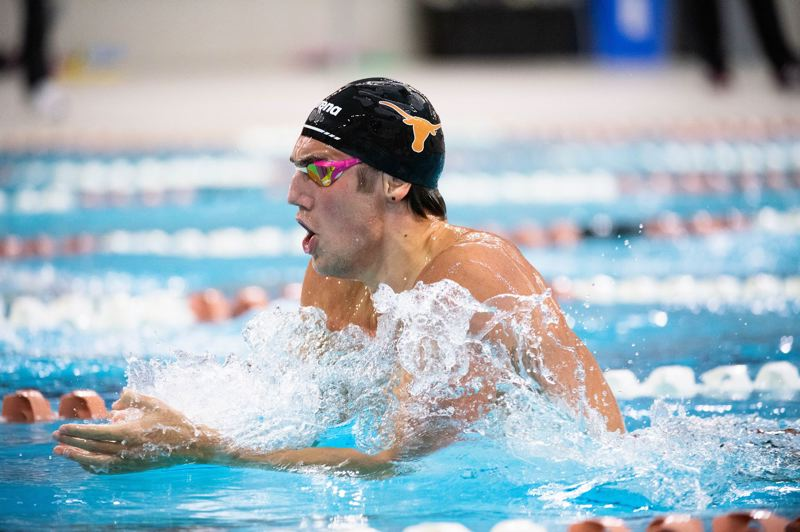 COURTESY PHOTO: ANGELA WANG/UNIVERSITY OF TEXAS - Caspar Corbeau swims the breaststroke for the Texas Longhorns. Corbeau, a Beaverton native and Sunset High School alumnus, will be competing this summer for the Dutch national team at the Tokyo Olympic Games.