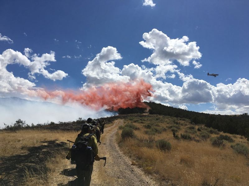 COURTESY PHOTO: JONATHON GOLDEN - Ruby Mountain Hotshots hike in to begin a fire assignment near Tooele, Utah, on the Uinta-Wasatch-Cache National Forest.