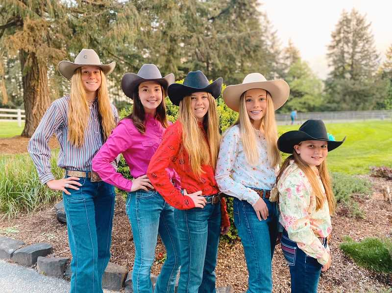 SUBMITTED PHOTO: STACY BLACKBURN - Columbia County barrel racers are, from left to right, Katie Holm, Madison Blackburn, Kendall Smith, Taylor Blackburn and Charlee Hoge.
