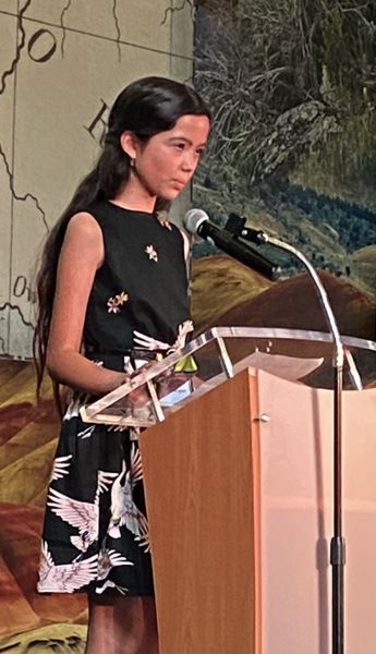 """Mia Kazuko Ballinger, a fifth-grader from Bend, was one of the presenters. Her great-grandfather served in World War II. """"I'm really proud that I have a relative who did this, and that I'm Japanese,"""" she said before the presentation."""