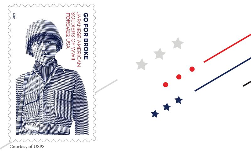 """COURTESY IMAGE: STAMP OUR STORY. - Earlier this month, the U.S. Postal Service released its newest commemorative stamp, the """"Go for Broke Soldiers: Japanese American Soldiers of WWII"""" stamp."""