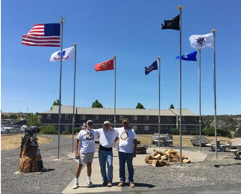 PHOTOS COURTESY OF SHAWN STANFILL   - Left to right: Local Vietnam veterans Fred Beebee, Shawn Stanfill and Craig McDonald helped oversee the project. They want to help decrease the number of veterans who take their own lives.