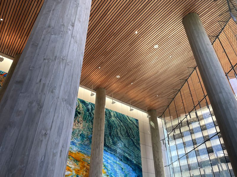 PMG PHOTO: BRIAN LIBBY - The artistic ceiling and gorgeous wall mural in the entrance of the new Multnomah County Courthouse building.