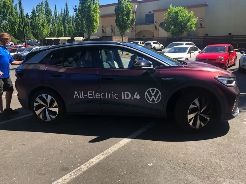 PMG PHOTO: JEFF ZURSCHMEIDE - The all-new Volkswagen ID.4 electric vehicle is available for test drives at Bridfgeport Village through June 20.