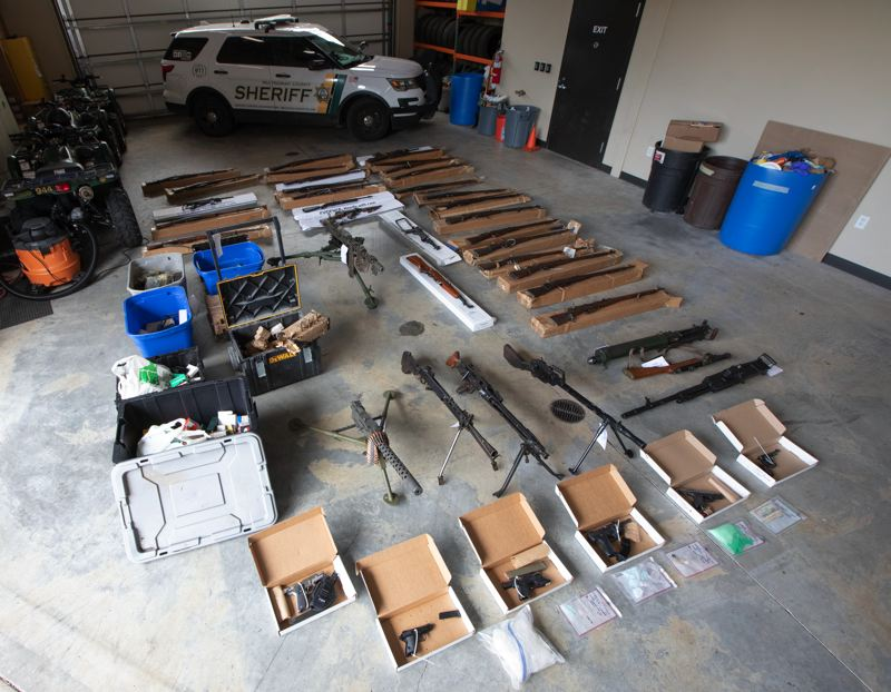 COURTESY PHOTO: MULTNOMAH COUNTY SHERIFFS OFFICE - Deputies seized 44 firearms during an arrest earlier this week.