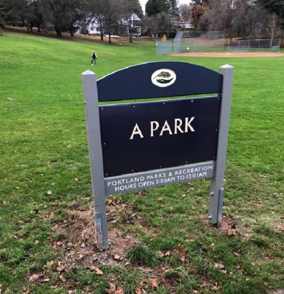 PHOTO - The new signage at Southwest Portland's 'A Park,' which was formerly known as Custer Park. , Portland Tribune - News Commissioner Amanda Fritz directs parks bureau to find new name for public space in Southwest Portland Fritz: Southwest Portland's 'Custer Park' will be renamed