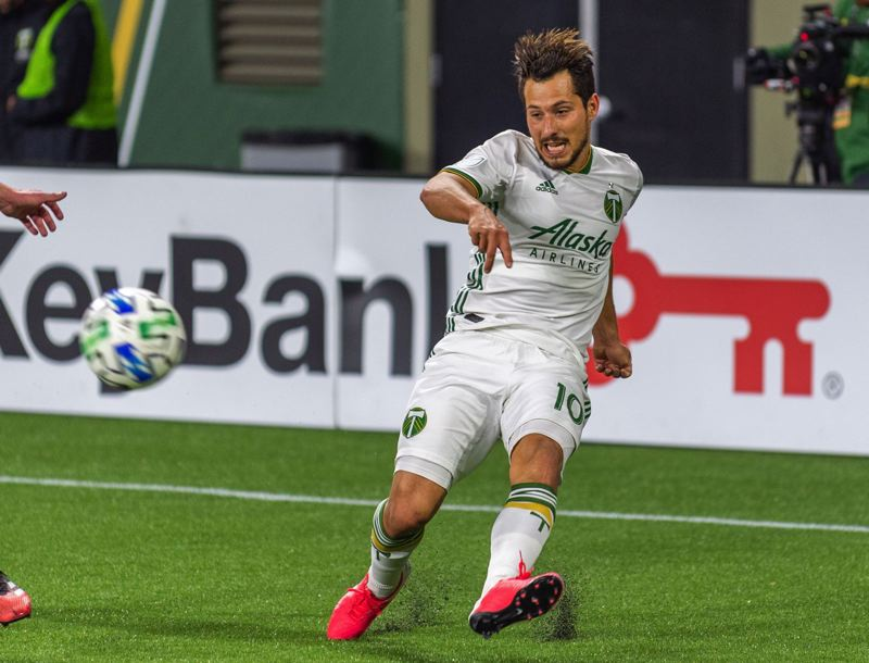 PMG FILE PHOTO: DIEGO G. DIAZ - Sebastian Blanco, pictured in a 202 preseason match, could return to action for the first time since September on Saturday when the Timbers play host to Sporting Kansas City.