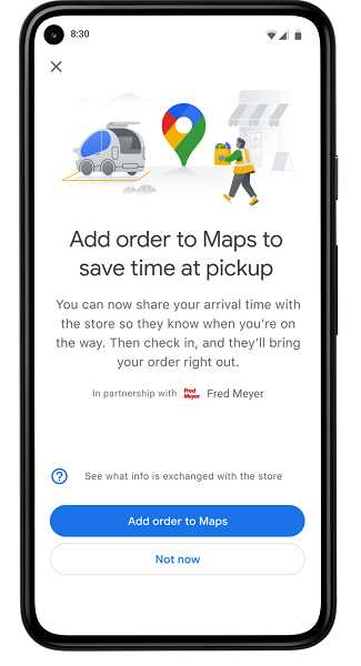 COURTESY GRAPHIC: KROGER/FRED MEYER - Google is launching a pilot scheme in Portland for tracking grocery pick-ups from Fred Meyer. Shoppers will order online then as they head to the store, their location will be tracked on Google Maps. The plan would allow the story to fill more imminent orders first.