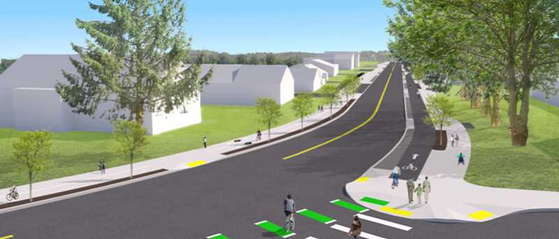 COURTESY IMAGE: PBOT - A rendering shows what Southwest Capitol Highway will look like after the installation of a protected bike lane and continuous sidewalk.