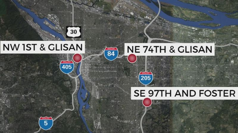 COURTESY GRAPHIC: KOIN 6 NEWS - A map of the overnight shooting locations.