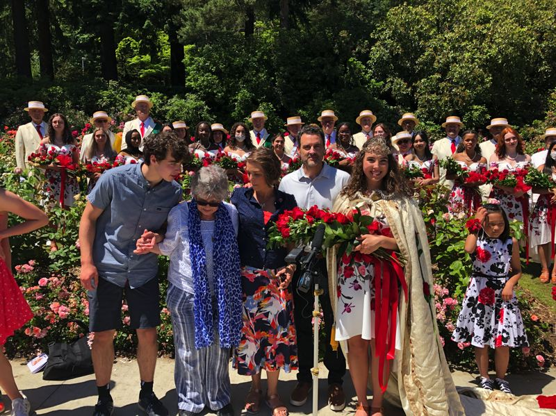 COURTESY PHOTO: ROSE FESTIVAL - Lili Rosebrook (right) is joined by her family after she was named Rose Festival queen on Friday.