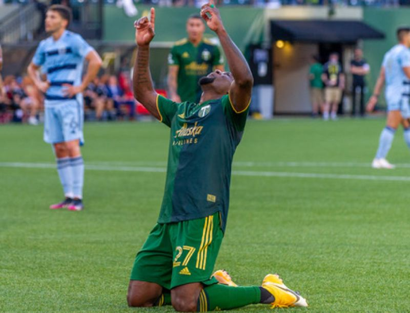 PMG PHOTO: DIEGO G. DIAZ - An emotional Dairon Asprilla celebrates his tying goal in the first half of Saturday's match at Providence Park, a 2-1 win for the Portland Timbers ovesr Sporting Kansas City.