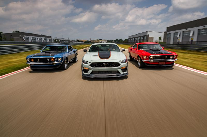 COURTESY FORD MOTOR COMPANY - A comparision of the 2021 Ford Mustang Mach 1 and two originals.