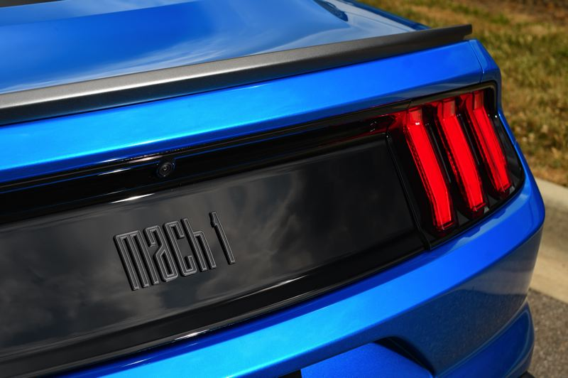 COURTESY FORD MOTOR COMPANY - The classic Mach 1 logo beneath the rear spoiler on the 2021 version.