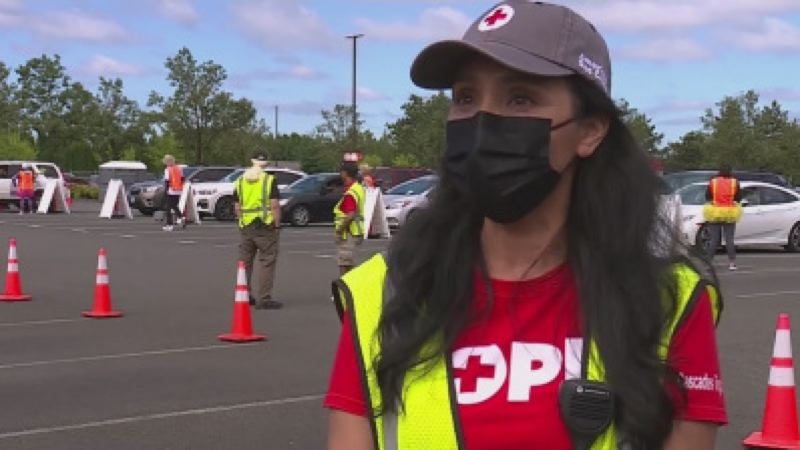 COURTESY PHOTO: KOIN 6 NEWS - MaryJane Rose, the volunteer lead organizer for the mass vaccination site at Portland International Airport on June 19.