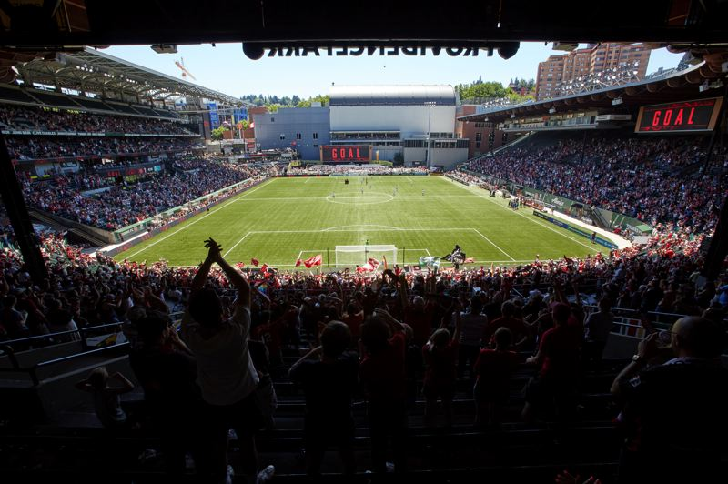 COURTESY PHOTO: CRAIG MITCHELLDYER/PORTLAND THORNS FC - The crowd reacts to the Portland Thorns' goal in a 1-0 win over KC NWSL on Sunday, June 20, at Providence Park. Capacity at 80% was allowd for the first time this season.