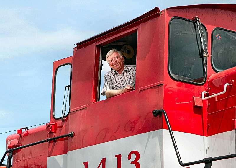 DAVID F. ASHTON - Why was Richard Samuels so broadly smiling in this photo taken in 2013? Its because he was at the controls of one of his locomotives running along the short line Oregon Pacific Railroad that he bought and developed into a successful business.