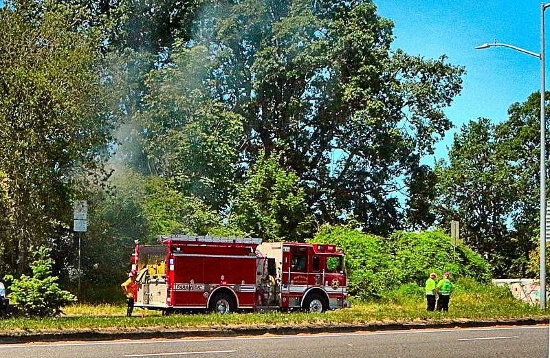 DAVID F. ASHTON - Westmorelands Fire Station 20 responded to the brushfire on June 4th, just below McLoughlin Boulevard, at the Holgate exit. The blaze reportedly started in a homeless camp down the bluff, above the Willamette River.