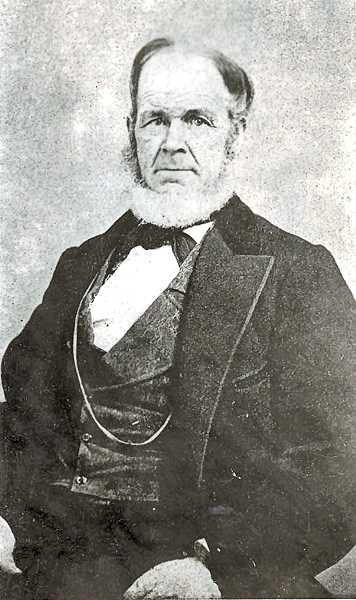 COURTESY OF FINDAGRAVE.COM - This is a family portrait of Henderson Luelling who,with the help of his oldest son Alfred, brought two wagons filled with 700 grafted fruit tree seedlings west on the Oregon Trail in 1847. He established the Luelling and Meek Fruit Orchard just south of todays Sellwood.