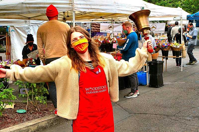 DAVID F. ASHTON - The new Woodstock Farmers Market Manager, Lucinda Klicker, rang the opening bell for the first day of the 11th season on Sunday, June 6.