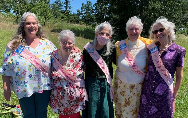 (Image is Clickable Link) The 2021 My Fair Lady Court princesses. Left to right: Lynn Shaw-Hayes, Renee Swartz, Rosemary Scandale, Roberta Leuer, Alice Long