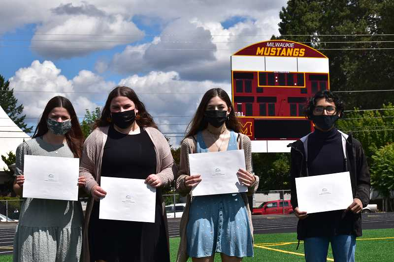 COURTESY PHOTO - Jenna Stein (from left) Isabelle Silva, Audiel Phelps and Victor Servin-Zuniga won scholarships this month through the North Clackamas Education Foundation.